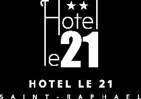 Logo blanc Hôtel le 21 à Saint-Raphaël